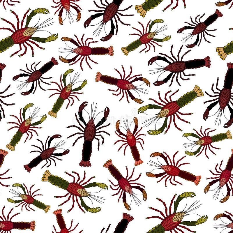 Rood rivierkreeften naadloos patroon Vector illustratie stock illustratie