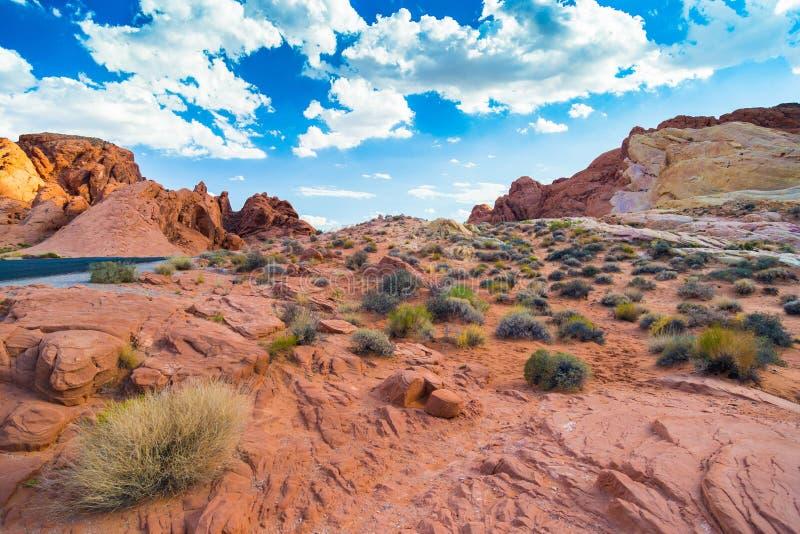Rood Rotslandschap in Vallei van het Park van de Brandstaat, Nevada stock foto