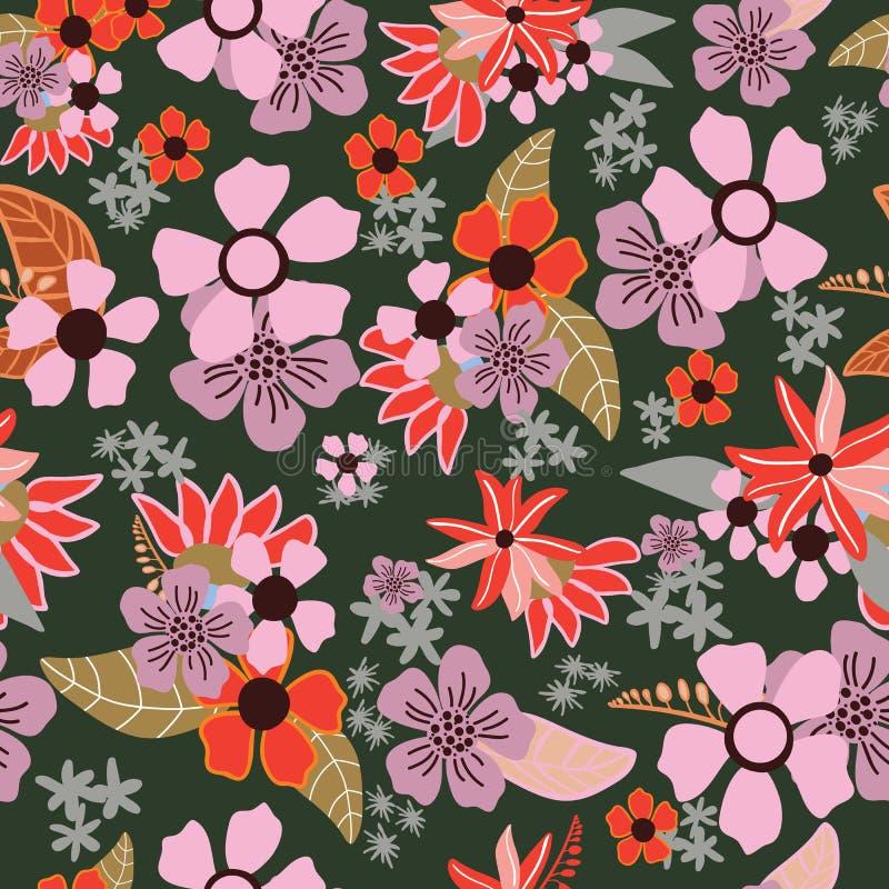 Rood, roze en purper hand getrokken bloemenboeket op groene backgrou royalty-vrije illustratie