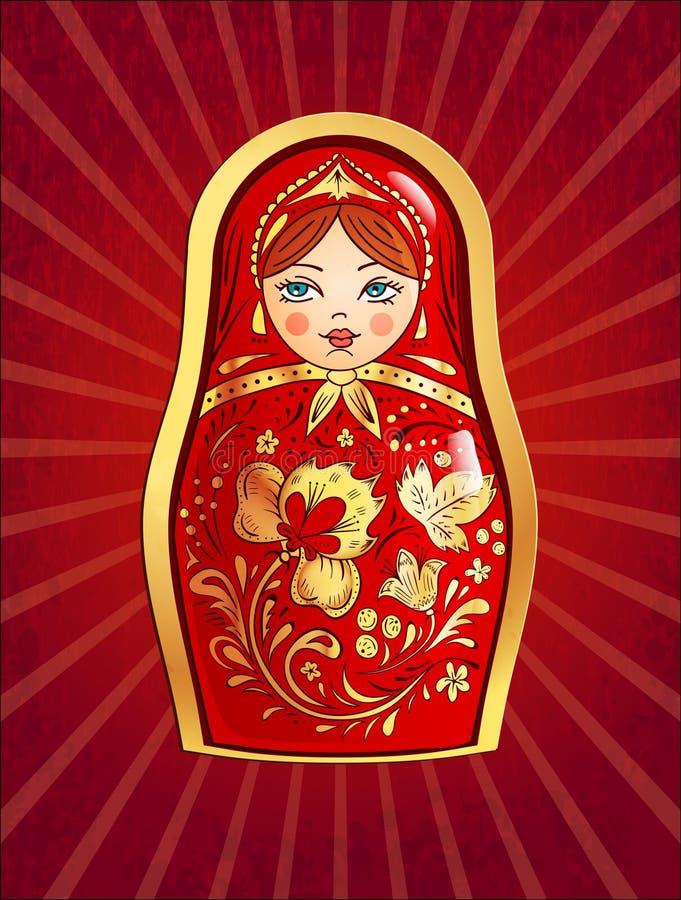 Rood Russisch Doll stock illustratie