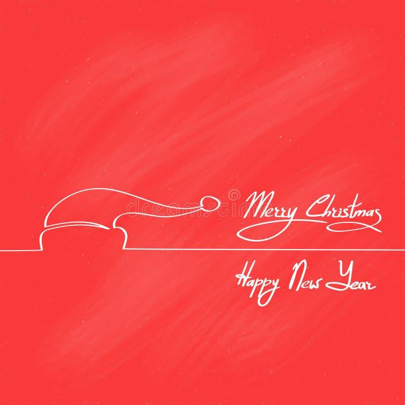 Rood Santa Claus Hat Merry Christmas Happy-Nieuwjaar stock illustratie