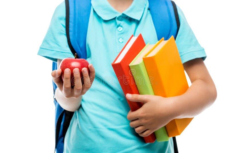 rood sappig appelclose-up in de handen van schooljongen royalty-vrije stock foto