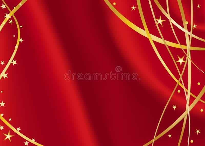 Rood satijn met gouden sterren stock illustratie