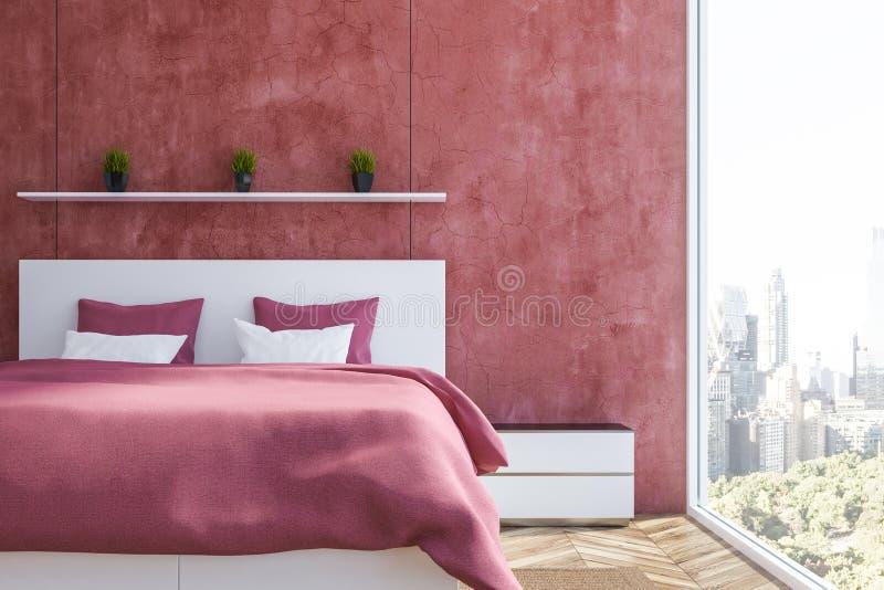 Rood slaapkamerbinnenland stock illustratie