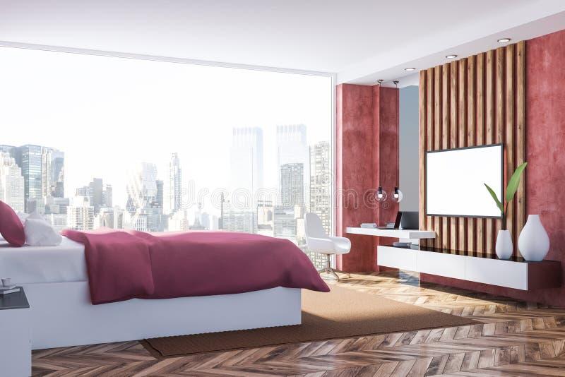 Rood slaapkamerbinnenland met TV vector illustratie