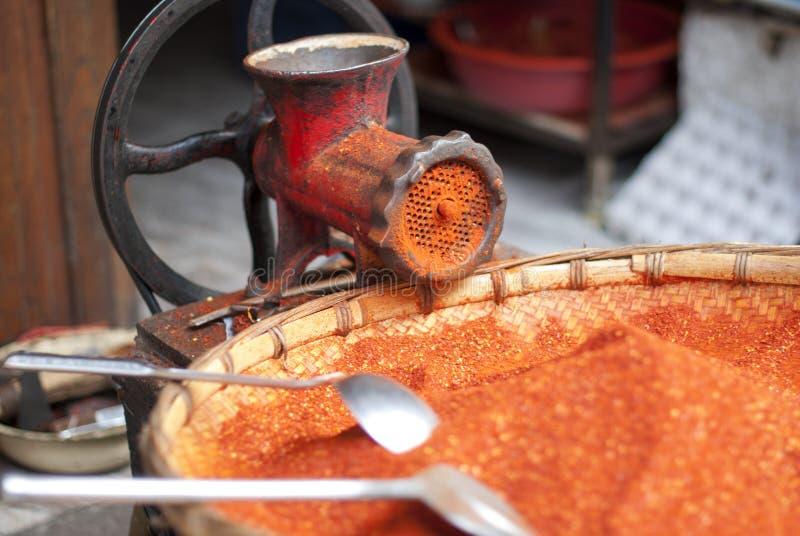 Rood Spaanse peperpoeder stock foto