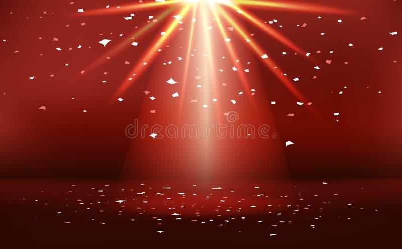 Rood stadium met lichte neon heldere effect van de vieringstoekenning abstracte vectorillustratie als achtergrond stock illustratie