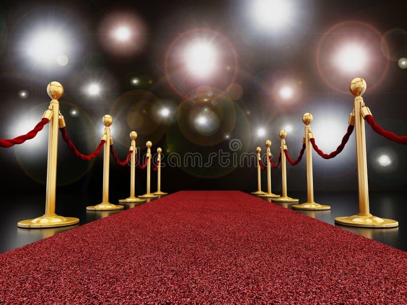 Rood tapijt bij nacht met flitslichten stock afbeelding