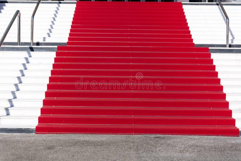 Rood tapijt in Cannes, Frankrijk Stairs van bekendheid stock foto's