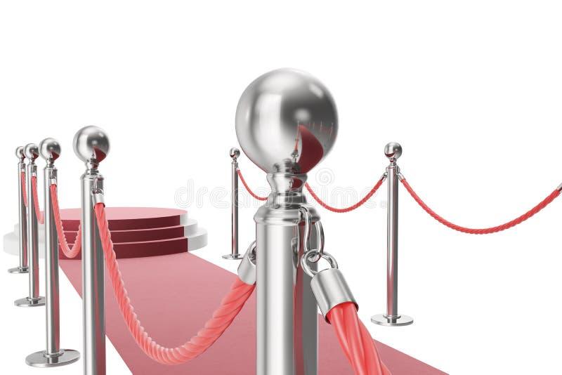 Rood tapijt dat op witte achtergrond wordt geïsoleerdn het 3d teruggeven van zilveren stangen en kabels tussen hen royalty-vrije illustratie
