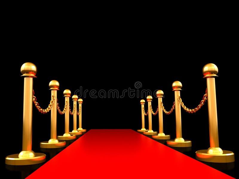 Rood tapijt en gouden barrière met het Knippen van Weg, het 3D teruggeven royalty-vrije illustratie