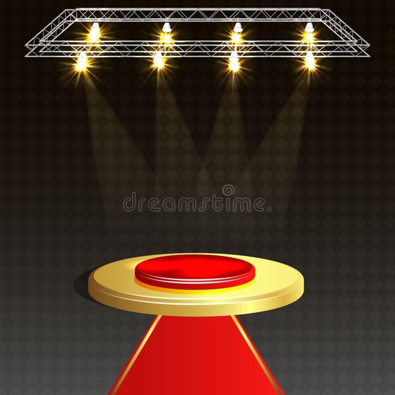 Rood tapijt en rond podium met lichteffect, abstracte achtergrond, vector illustratie
