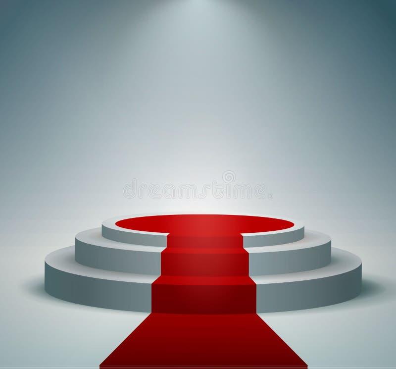 Rood tapijt en rond podium met lichteffect, abstracte achtergrond, vector royalty-vrije illustratie