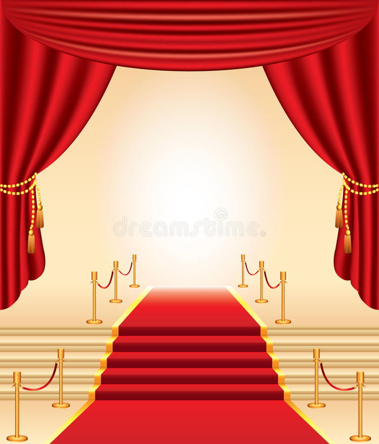 Rood tapijt, gouden stangen, treden en gordijnen royalty-vrije illustratie