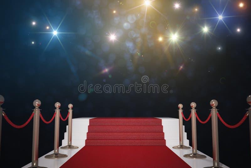 Rood tapijt voor VIP Flitslichten op achtergrond 3D teruggegeven illustratie royalty-vrije illustratie