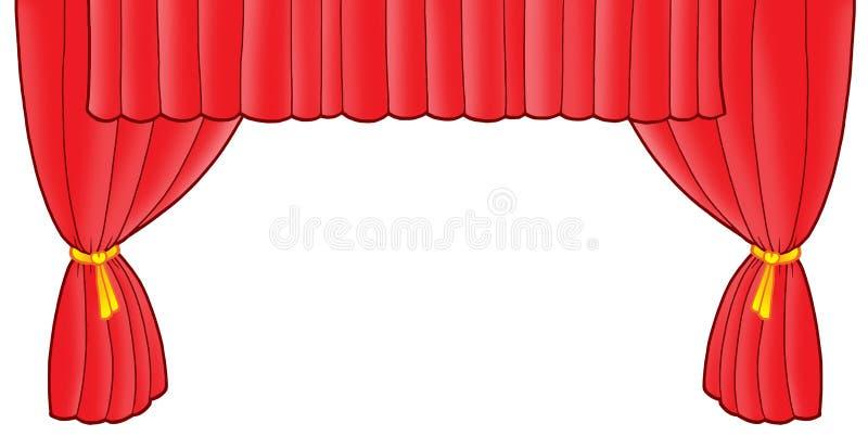 Rood theatergordijn stock illustratie