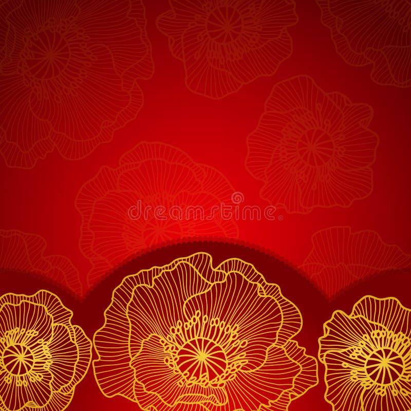 Rood uitnodigingskader met gouden kantpapaver vector illustratie