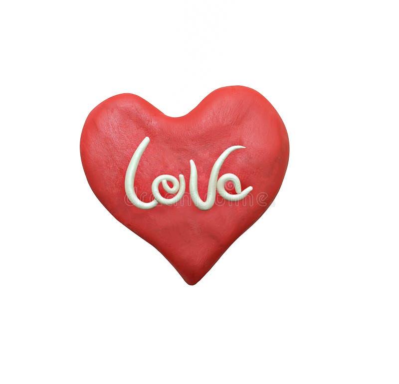 Rood valentijnskaarthart en het witte die van letters voorzien met plasticine wordt gemaakt stock afbeeldingen