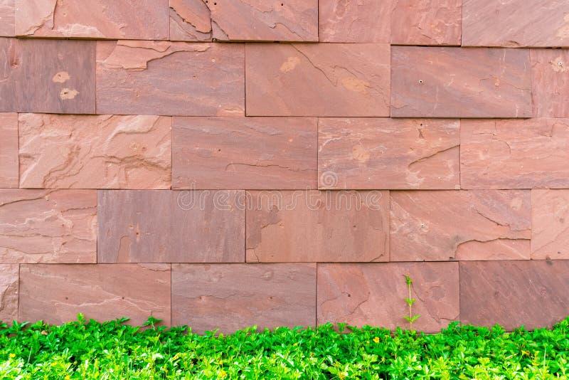 Rood van de baksteentextuur behang als achtergrond met groen gras De bouw en binnenlands concept stock afbeelding