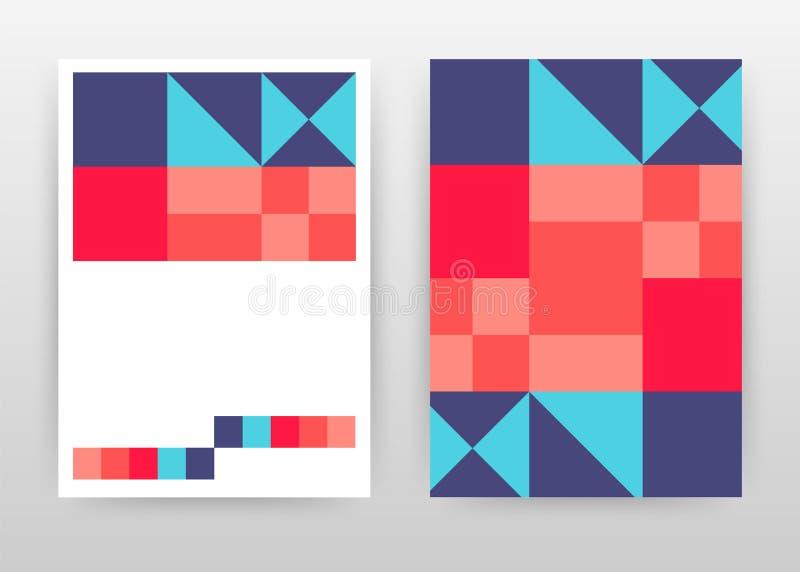 Rood van de bedrijfs aqua blauw geometrisch driehoek ontwerp als achtergrond voor jaarverslag, brochure, vlieger, affiche Meetkun royalty-vrije illustratie