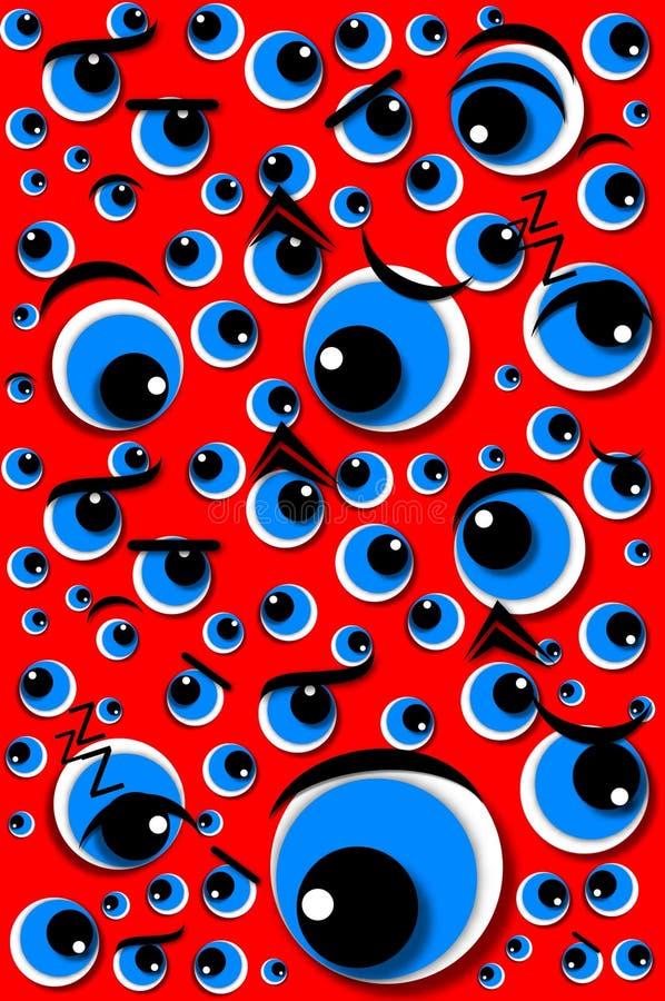 Rood van de Ogen van de Emoties van de emotie het Reeks Gemengde vector illustratie
