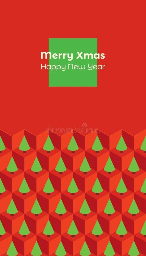 Rood van kerstkaart het isometrische bomen royalty-vrije illustratie
