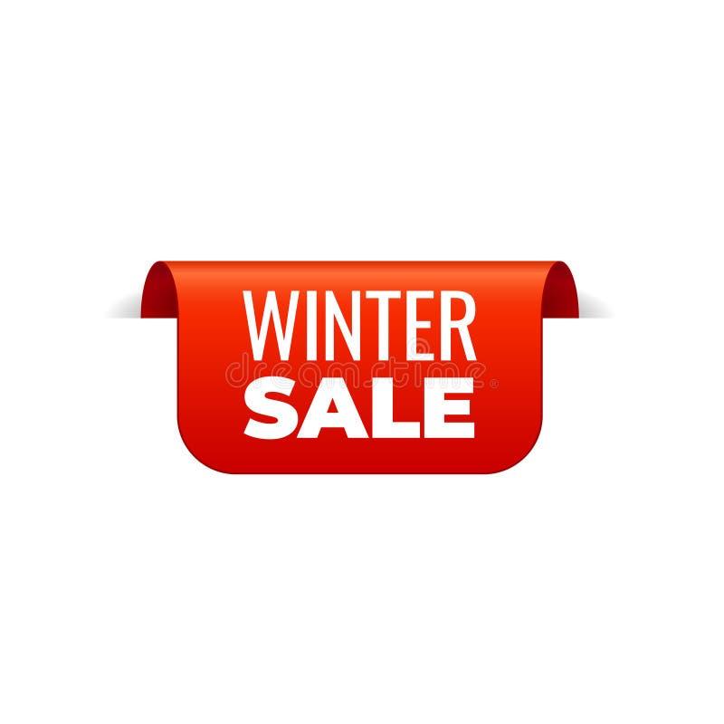 Rood Vectorbannerlint op witte achtergrond, hoogste referentie, de winterverkoop royalty-vrije illustratie