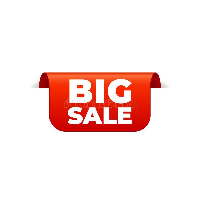 Rood Vectorbannerlint op witte achtergrond, hoogste referentie, grote verkoop stock illustratie