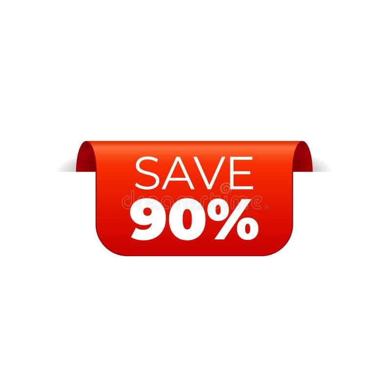 Rood Vectorbannerlint op witte achtergrond, hoogste referentie, sparen 90 percenten stock illustratie