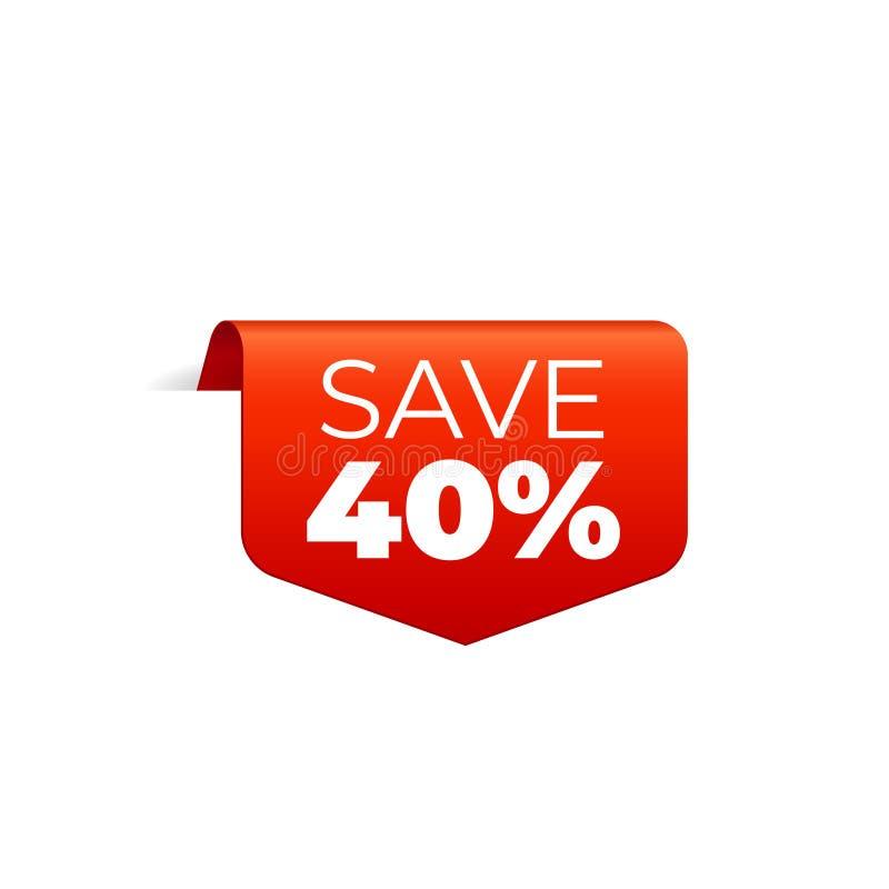 Rood Vectorbannerlint op witte achtergrond, hoogste referentie, sparen 40 percenten vector illustratie