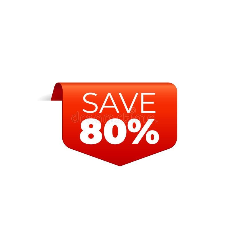 Rood Vectorbannerlint op witte achtergrond, hoogste referentie, sparen 80 percenten stock illustratie