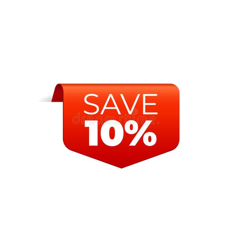 Rood Vectorbannerlint op witte achtergrond, hoogste referentie, sparen 10 percenten royalty-vrije illustratie