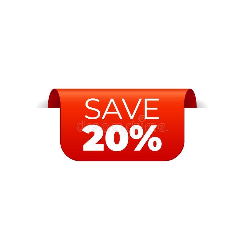 Rood Vectorbannerlint op witte achtergrond, hoogste referentie, sparen 20 percenten royalty-vrije illustratie