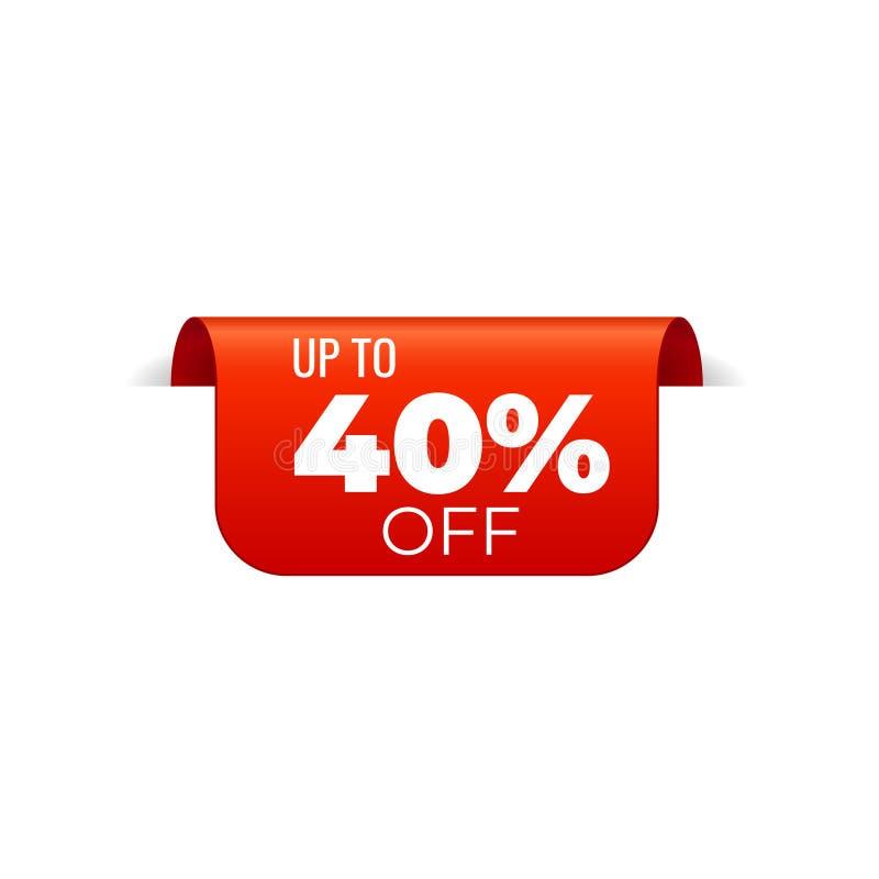 Rood Vectorbannerlint op witte achtergrond, hoogste referentie, tot 40 percenten weg stock illustratie