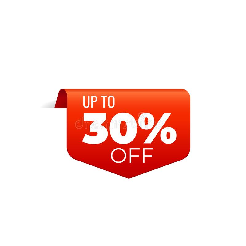 Rood Vectorbannerlint op witte achtergrond, hoogste referentie, tot 30 percenten weg stock illustratie