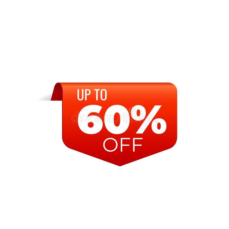 Rood Vectorbannerlint op witte achtergrond, hoogste referentie, tot 60 percenten weg royalty-vrije illustratie
