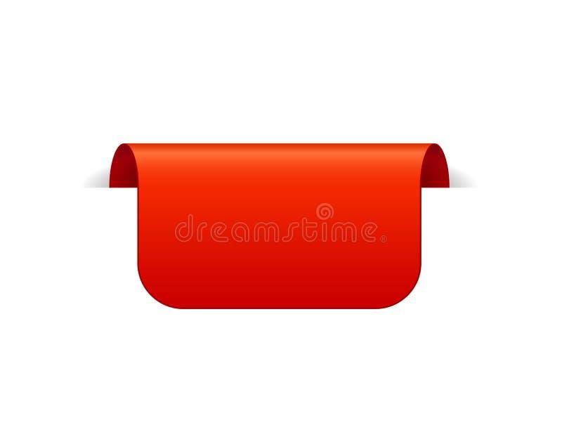 Rood Vectorbannerlint op witte achtergrond, hoogste referentie stock illustratie