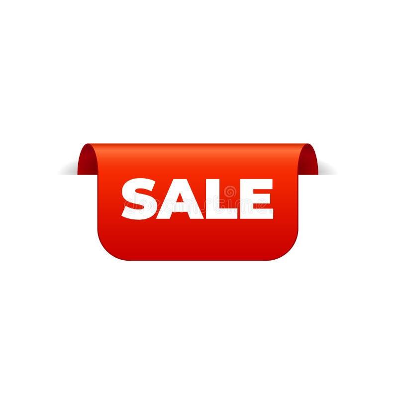 Rood Vectorbannerlint op witte achtergrond, hoogste referentie, verkoop royalty-vrije illustratie