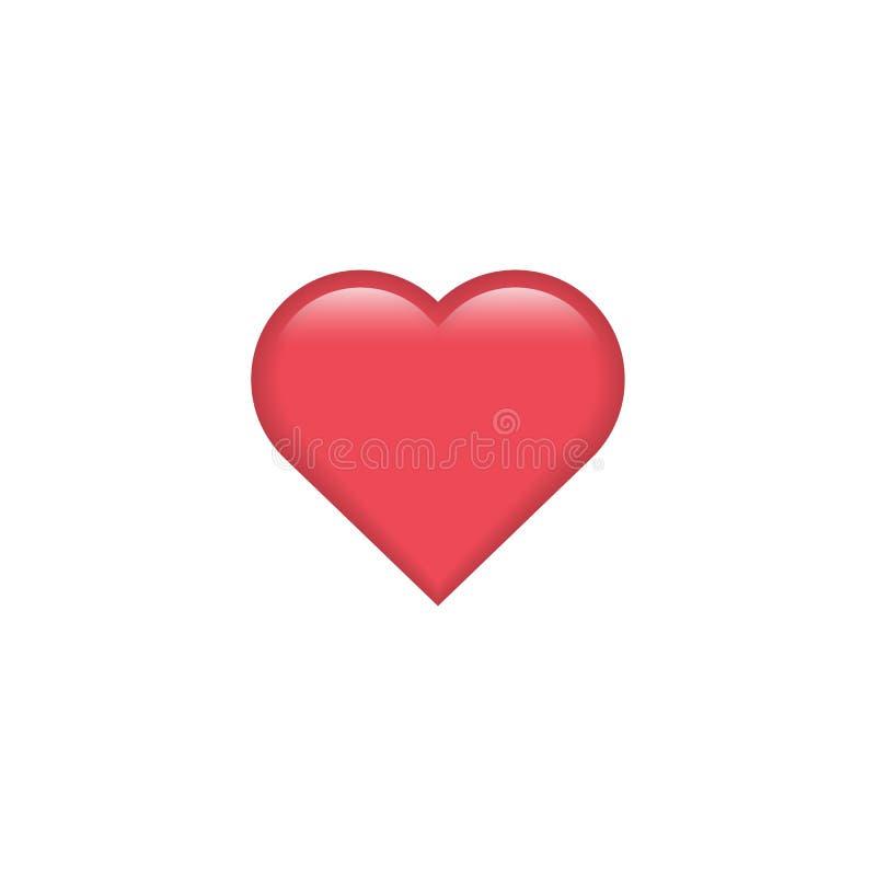 Rood vectorhartpictogram Hartemoji De sticker van het hart De Dag van Valentine ` s van het liefdesymbool Element voor de kaart v royalty-vrije illustratie