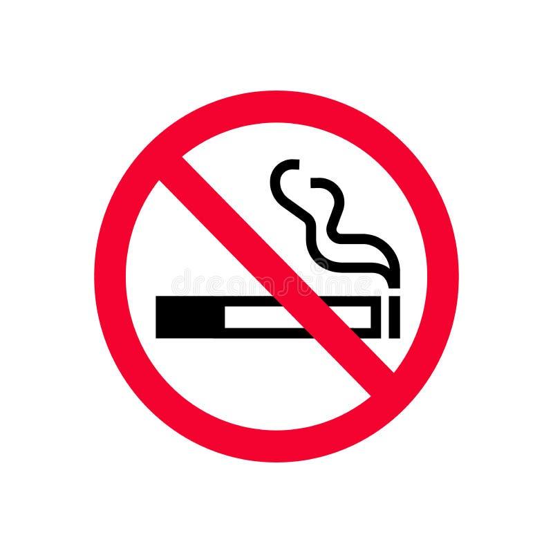Rood verbod nr - rokend teken Het verboden teken trekt de rook van ` aan t vector illustratie