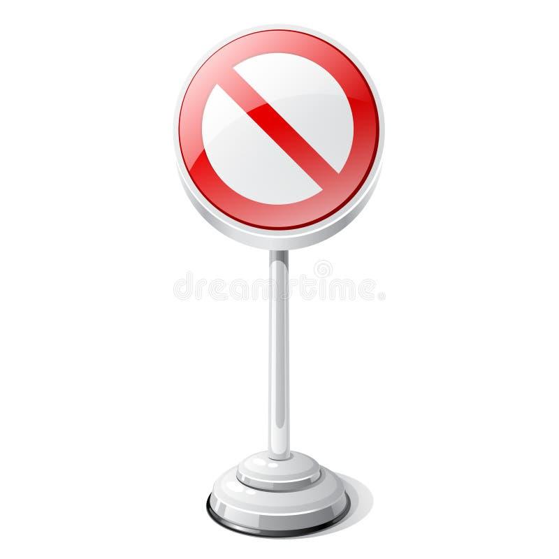 Rood verboden die verkeerteken op wit wordt geïsoleerd royalty-vrije illustratie