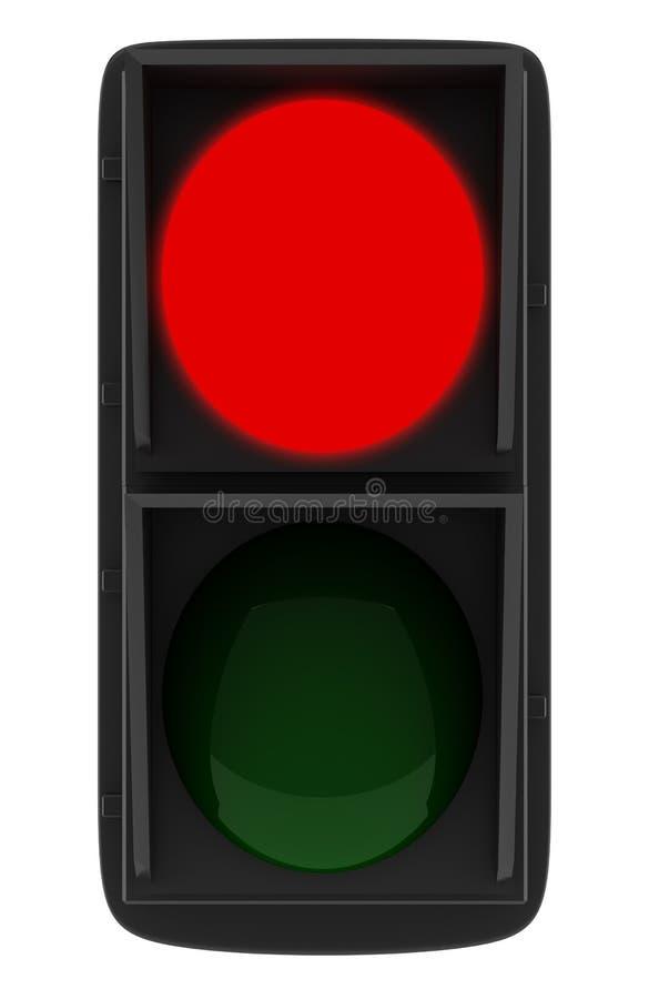 Rood verkeerslicht dat op wit wordt geïsoleerdd stock illustratie