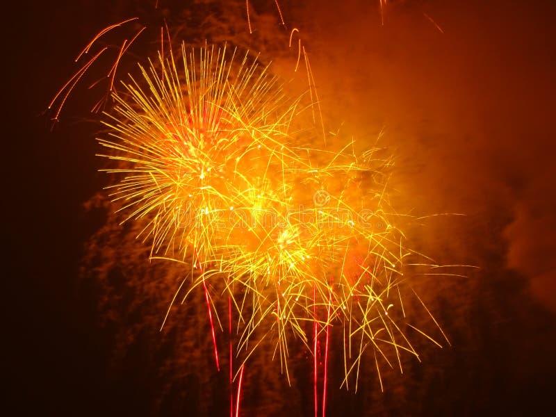 Rood Vierde Juli-Vuurwerk stock afbeelding