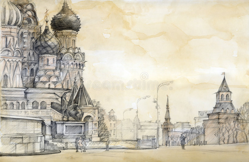 Rood vierkant in Moskou royalty-vrije illustratie
