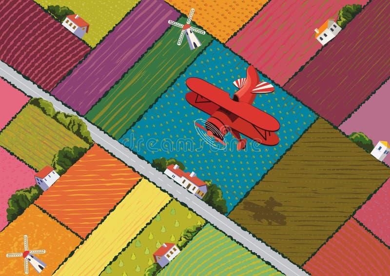 Rood vliegtuig royalty-vrije illustratie