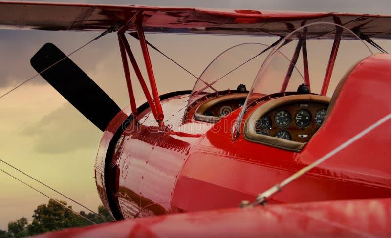 Rood vliegtuig royalty-vrije stock foto's