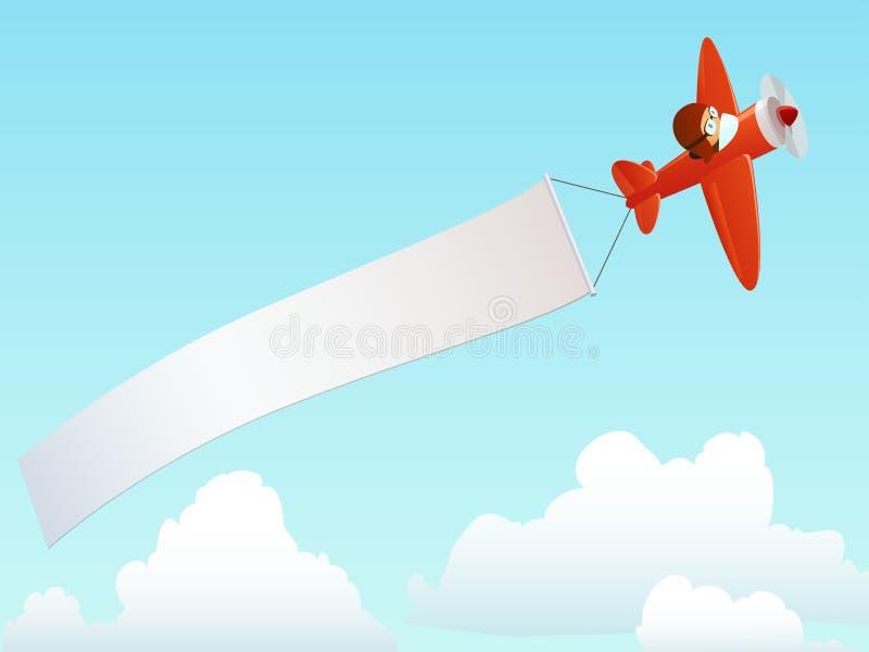 Rood vliegtuig met de reclame van banner in hemel vector illustratie