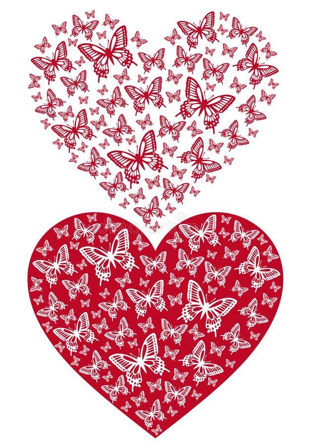 Rood vlinderhart, vector royalty-vrije illustratie