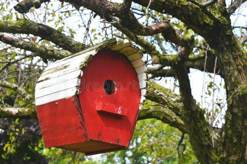 Rood vogelhuis stock afbeeldingen