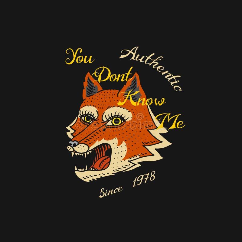 Rood vosembleem voor t-shirt Gezicht of Hoofd van Wild Dierlijk Roofdier voor banner of affiche r Getrokken hand vector illustratie